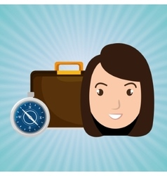Woman bag travel compass vector