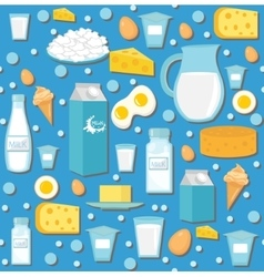 Dairy product seamless pattern Flat style Milk vector image