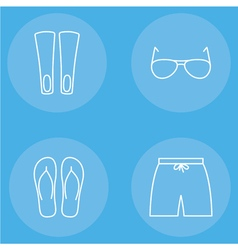 Mens beachwear outline icon set vector