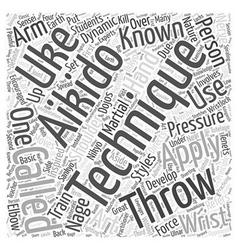 Aikido technique word cloud concept vector