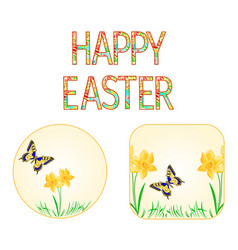 Buttons happy easter spring flowers narcissus vector