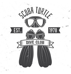 Scuba turtle dive club vector