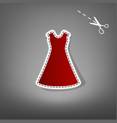 beautiful long dress sign  red icon with vector image