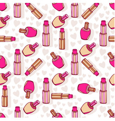 Cosmetic products pattern lipsticks and nail vector
