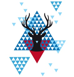 Christmas deer with geometric pattern vector
