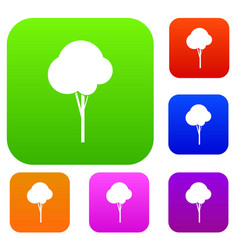 Fluffy tree set collection vector