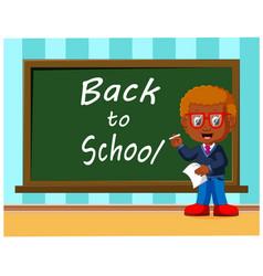 back to school cute schoolchild at the blackboard vector image