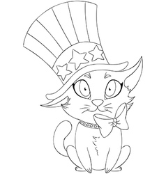 Independence day kitten coloring page vector