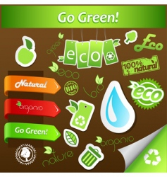 Set of green ecology icons vector