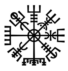 Vegvisir the magic compass of vikings runic vector
