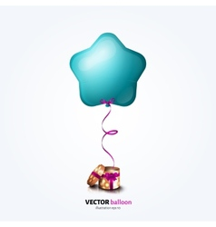 Party flying balloon with streamer isolated on vector