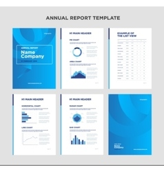 Modern annual report template with cover design vector