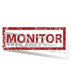 Monitor outlined stamp vector