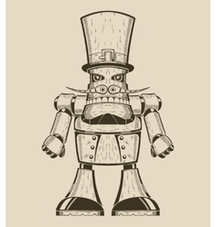 Image of cartoon fun metal robot with mustache in vector