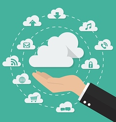 Hand with cloud computing technology concept vector