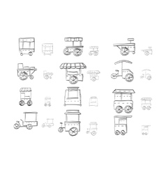 Sketch icons collection for food trolley vector