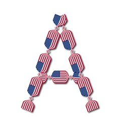 Letter A made of USA flags in form of candies vector image