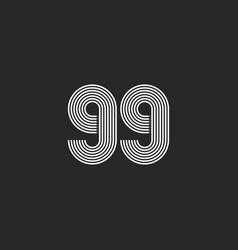99 number logo black and white think parallel vector