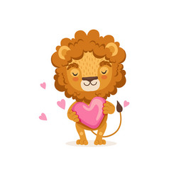 Adorable baby lion cartoon standing with big pink vector