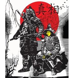 An hand drawn from japan culture - samurais vector
