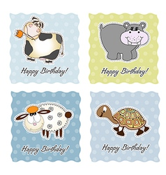 Birthday card set with animals vector