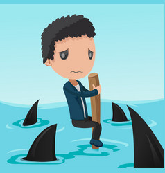 business man afraid shark sea vector image