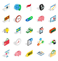 Business strategy icons set isometric style vector
