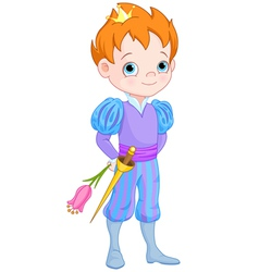 Cute little prince holds flower vector
