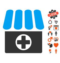 Drugstore icon with valentine bonus vector