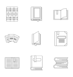 Education book icons set outline style vector