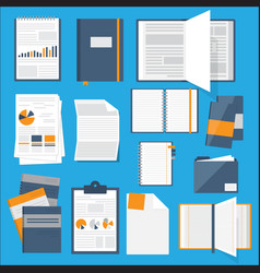 Flat notebooks papers books collection for web vector