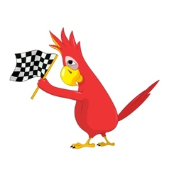 Funny parrot racing vector
