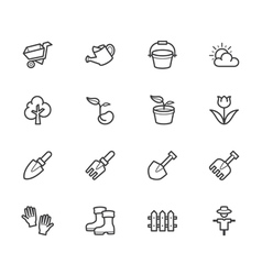 Garden element black icon set on white background vector