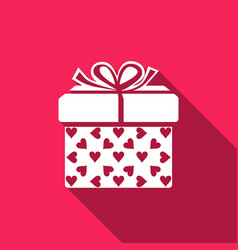 Gift box and heart icon isolated with long shadow vector
