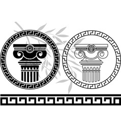 hellenic columns and olive branch second variant vector image vector image