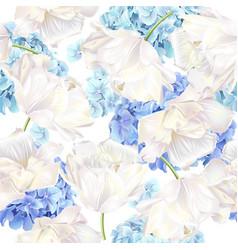 Hidrangea tulip blue pattern vector