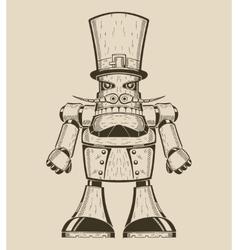 Image of cartoon fun metal robot with mustache in vector image vector image
