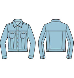 Jean jacket front and back vector