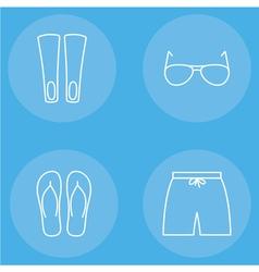 mens beachwear outline icon set vector image vector image