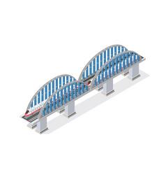 railroad isometric bridge vector image vector image