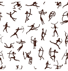 Rock paintings with ethnic people seamless vector image