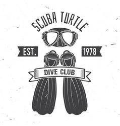 scuba turtle dive club vector image