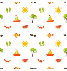 Seamless pattern with sea beach icons vector