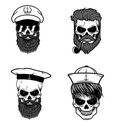 Set of sailors skulls vector image vector image