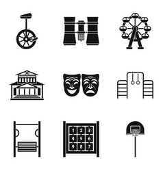 Showroom icons set simple style vector