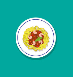 Spaghetti with shrimps and basil in flat style vector