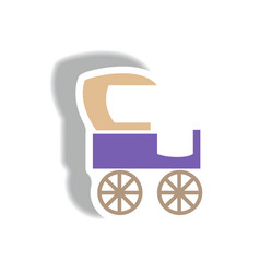 Stylish icon in paper sticker style retro carriage vector