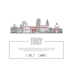 travel italy poster in linear style vector image