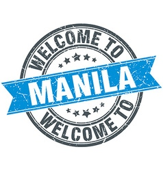 Welcome to manila blue round vintage stamp vector