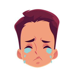Young man face crying facial expression vector